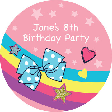 Party Bows Personalized Stickers (Sheet of 12)