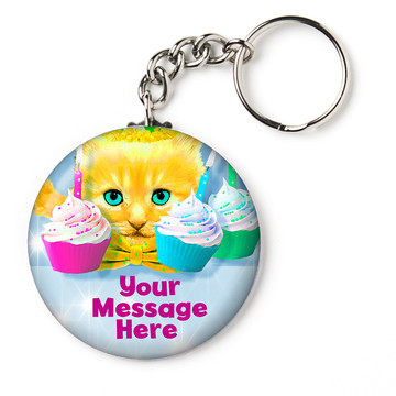 """Party Cats Personalized 2.25"""" Key Chain (Each)"""