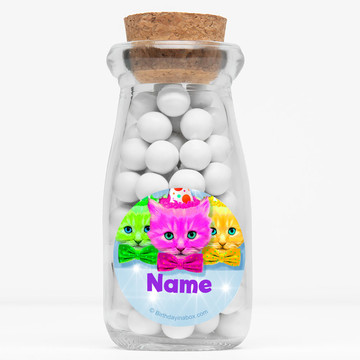"""Party Cats Personalized 4"""" Glass Milk Jars (Set of 12)"""
