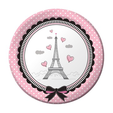"""Party In Paris 7 """" Cake Plate (8 Count)"""