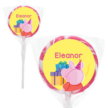 "Party Pig Personalized 2"" Lollipops (20 Pack)"