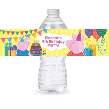 Party Pig Personalized Bottle Label (Sheet of 4)