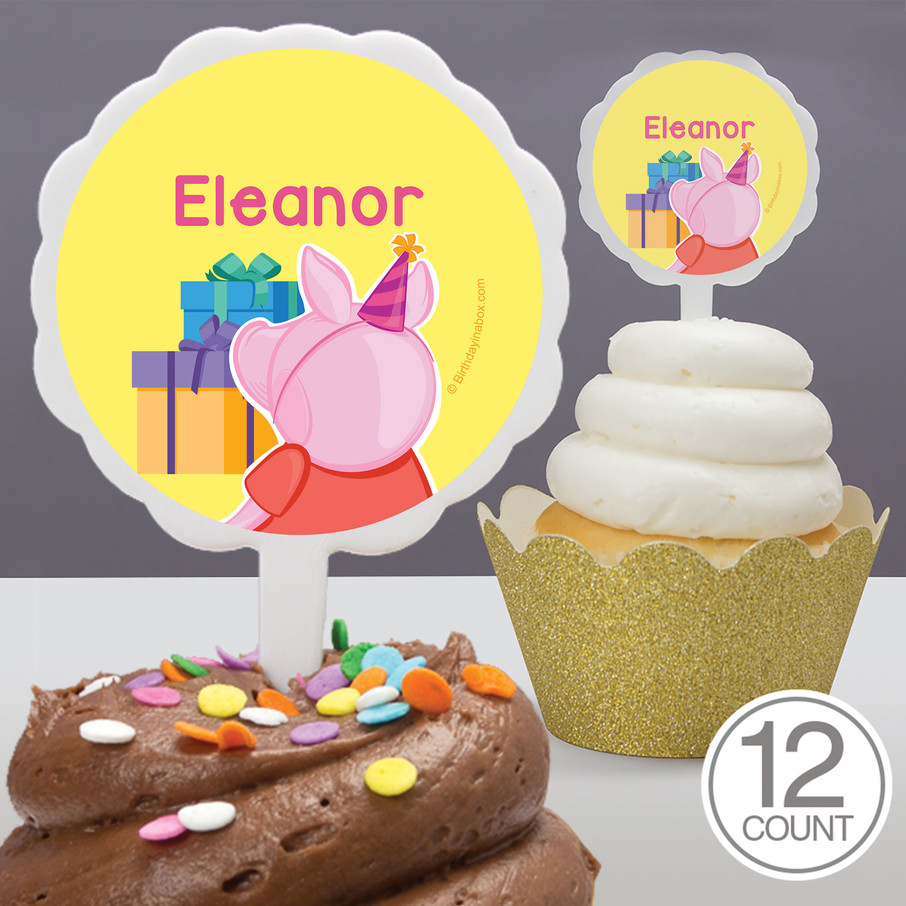 View larger image of Party Pig Personalized Cupcake Picks (12 Count)