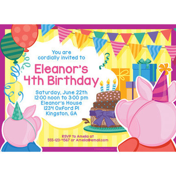 Party Pig Personalized Invitation (Each)
