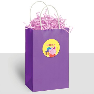 Party Pig Personalized Kraft Handle Favor Bags (10 Count)