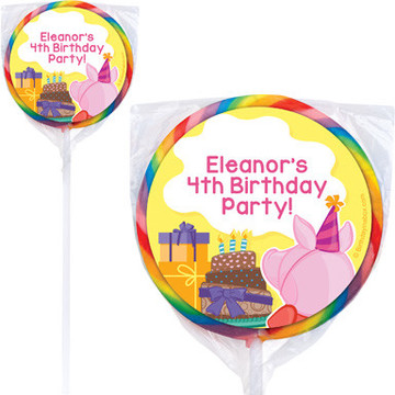 Party Pig Personalized Lollipops (12 Pack)