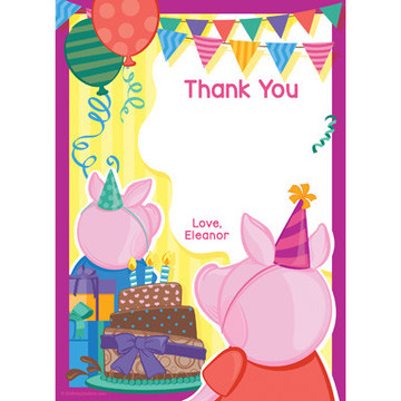 Party Pig Personalized Thank You (Each)
