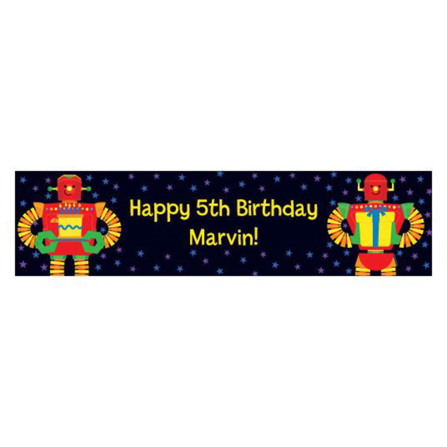 View larger image of Party Robot Personalized Banner (each)