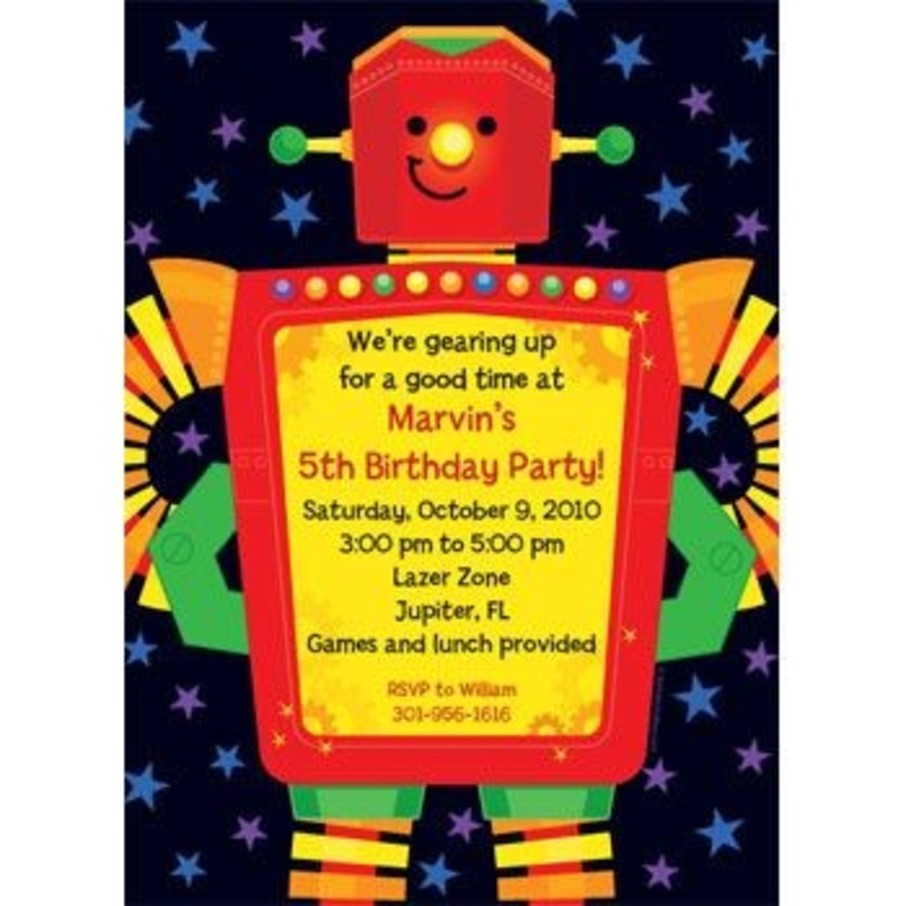 View larger image of Party Robot Personalized Invitation (each)