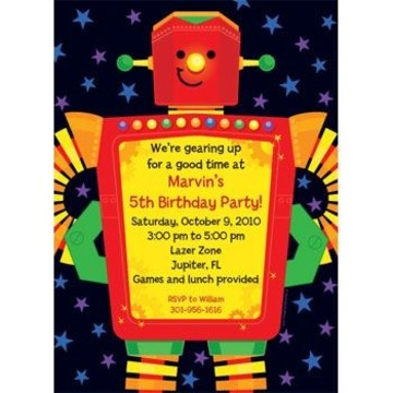 Party Robot Personalized Invitation (each)