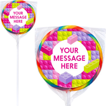 Pastel Block Party Personalized Lollipops (12 Pack)