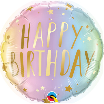 "Pastel Ombre 18"" Birthday Foil Balloon"