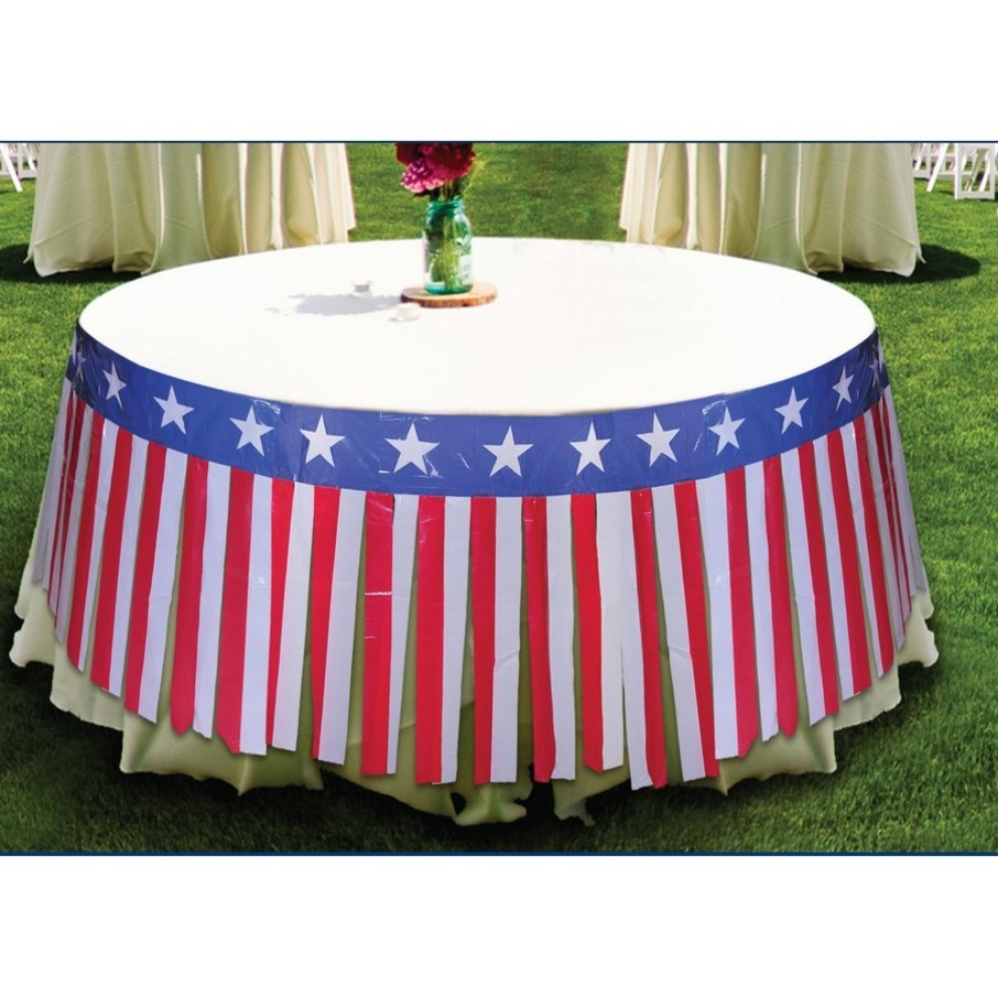 """View larger image of Patriotic 28"""" x 14' Table Skirt"""