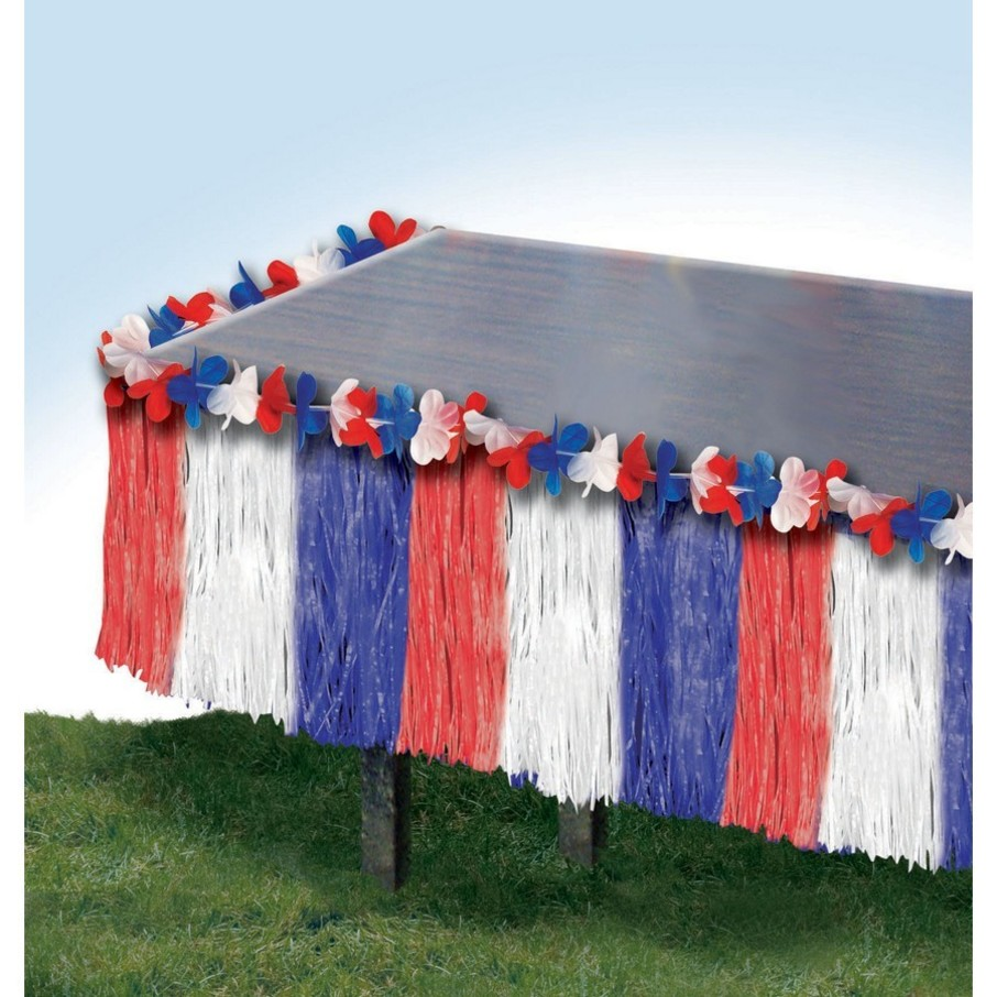 """View larger image of Patriotic 29"""" x 9' Fringe Table Skirt"""