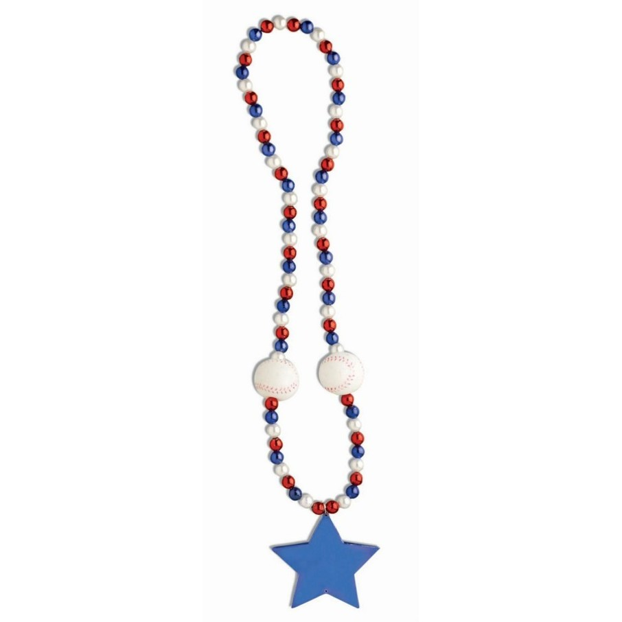 """View larger image of Patriotic 40"""" Baseball & Star Bead Necklace (1)"""