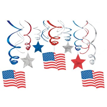 Patriotic Mega Value Pack Swirl Decorations (Each)