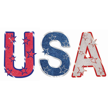 "Patriotic ""USA"" Glitter Cutouts"