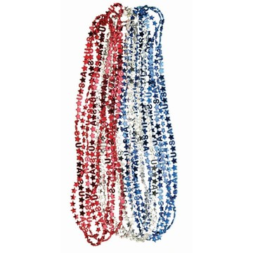 Patriotic USA & Star Metallic Bead Necklace (1)