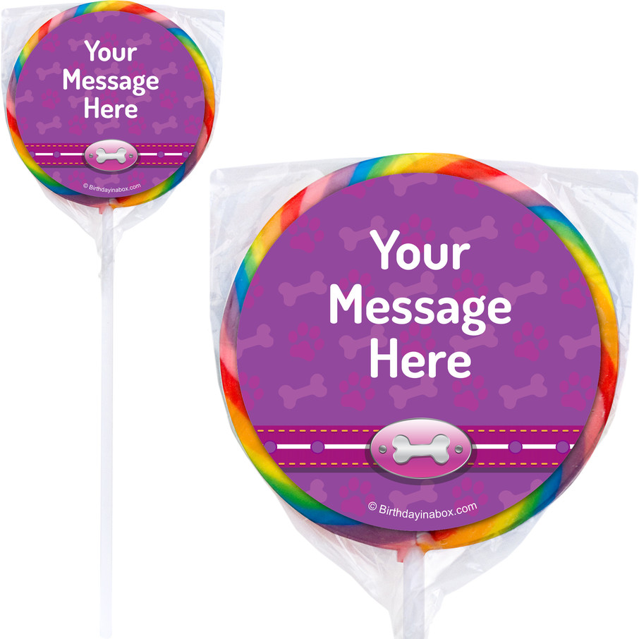 View larger image of Paw Command Pink Personalized Lollipops (12 Pack)