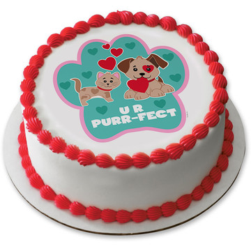 "Paw-fect 7.5"" Round Edible Cake Topper (Each)"