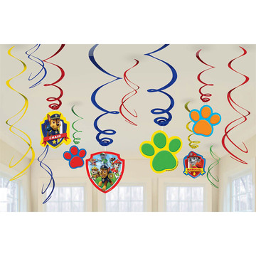 Paw Patrol Hanging Swirl Decorations (12 Pack)