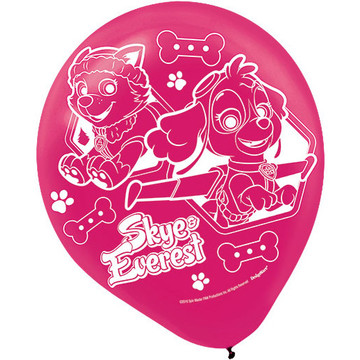 """Paw Patrol Pink 12"""" Latex Balloons (6 Count)"""