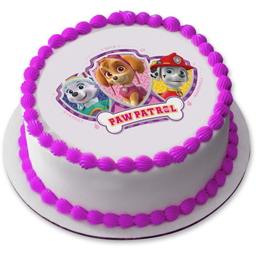 "Paw Patrol Pink 7.5"" Round Edible Cake Topper (Each)"