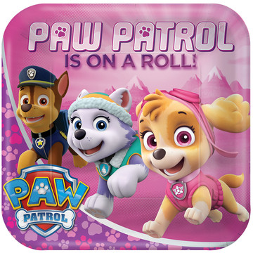 "Paw Patrol Pink 9"" Plate (8 Count)"