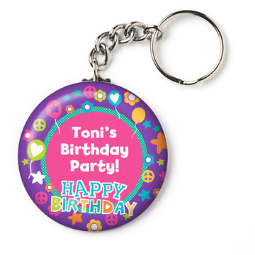 """Peace Love Birthday Personalized 2.25"""" Key Chain (Each)"""