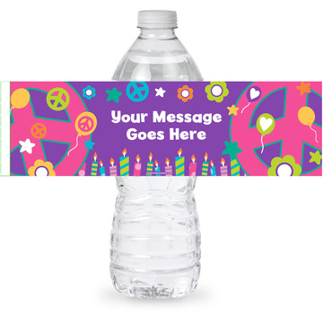 Peace Love Birthday Personalized Bottle Label (Sheet of 4)
