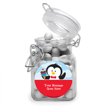Penguin Personalized Glass Apothecary Jars (12 Count)