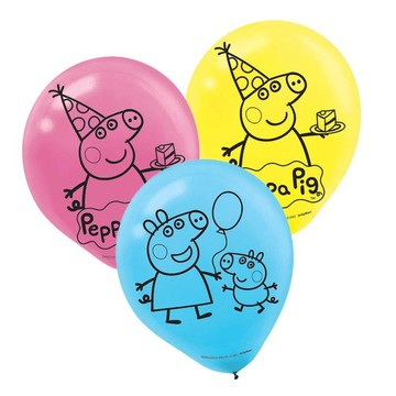Peppa Pig Latex Balloons (6 Pack)
