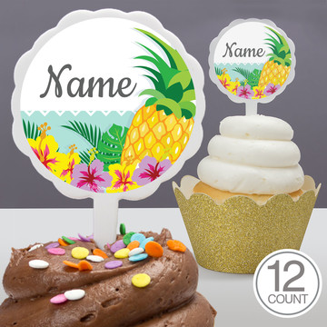 Pineapple Personalized Cupcake Picks (12 Count)