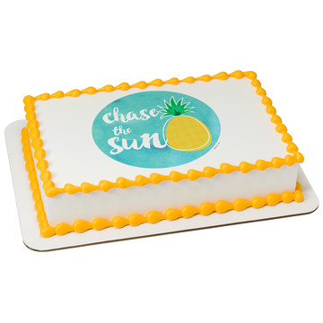 Pineapple Quarter Sheet Edible Cake Topper (Each)