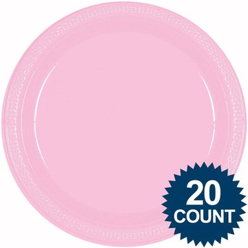 "Pink 10"" Plastic Dinner Plates (20 Pack)"
