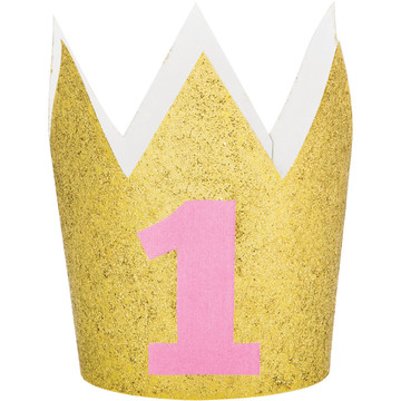 Pink and Gold 1st Birthday Crown