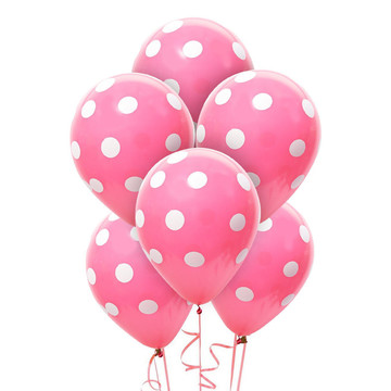 Pink and White Dots Latex Balloons (6)