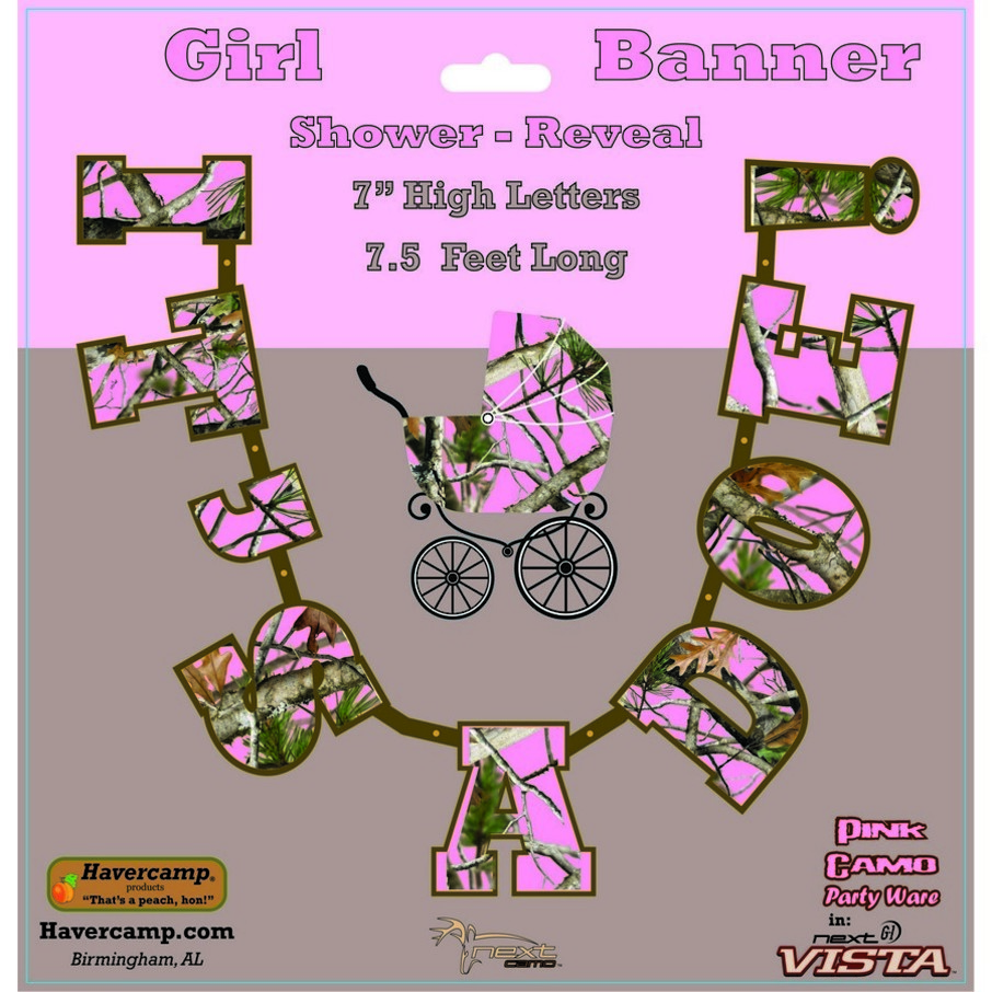 """View larger image of Pink Camo """"It's a Doe"""" Banner Decoration (Each)"""
