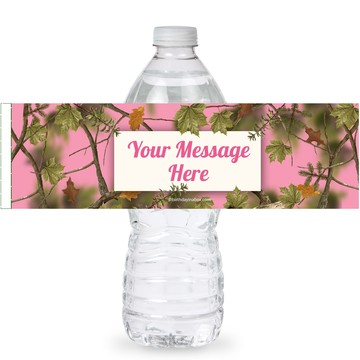 Pink Camo Personalized Bottle Labels (Sheet of 4)