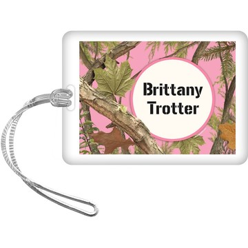 Pink Cover Personalized Bag Tag (Each)