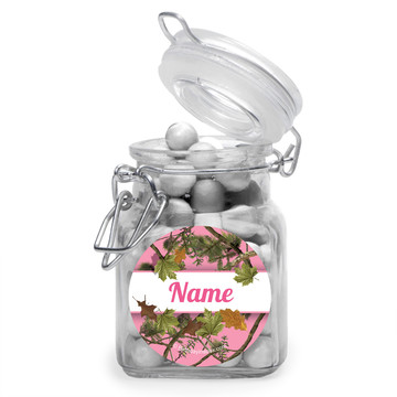 Pink Cover Personalized Glass Apothecary Jars (12 Count)