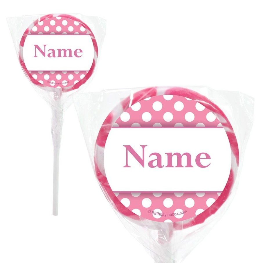 "View larger image of Pink Dots Personalized 2"" Lollipops (20 Pack)"