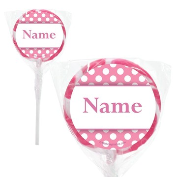 """Pink Dots Personalized 2"""" Lollipops (20 Pack)"""