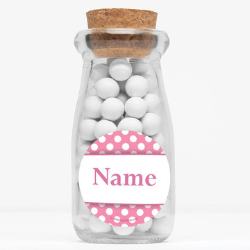 "Pink Dots Personalized 4"" Glass Milk Jars (Set of 12)"