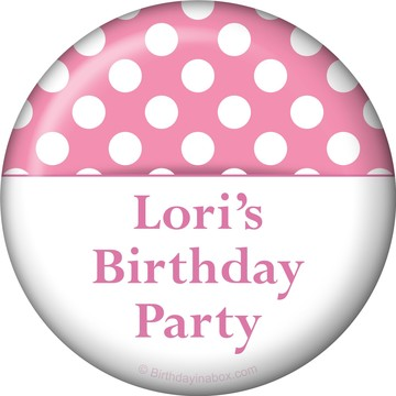 Pink Dots Personalized Button (Each)