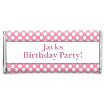 Pink Dots Personalized Candy Bar Wrapper (Each)