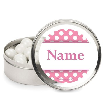 Pink Dots Personalized Candy Tins (12 Pack)