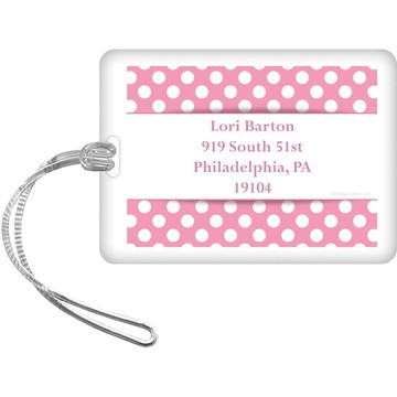 Pink Dots Personalized Luggage Tag (Each)