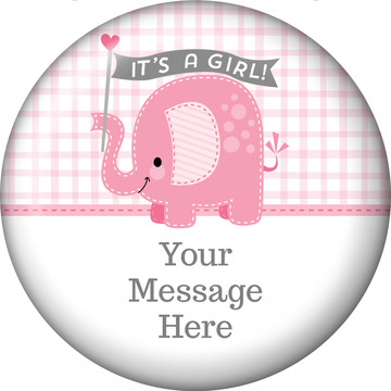 Pink Elephant Personalized Button (Each)