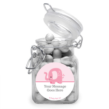 Pink Elephant Personalized Glass Apothecary Jars (12 Count)